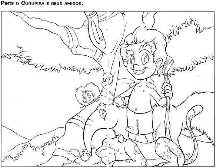 Folclore brasileiro - desenho para imprimir e colorir – saiba o nome de cada personagem folclórico. Curupira1