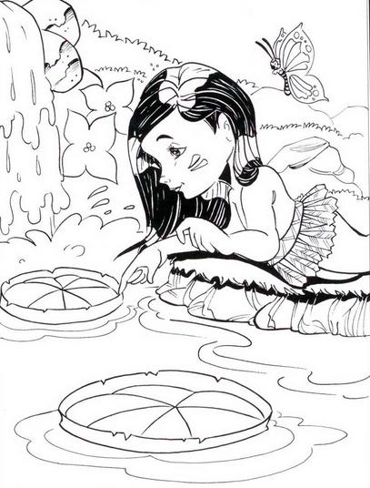 Folclore brasileiro - desenho para imprimir e colorir – saiba o nome de cada personagem folclórico. Vitória Régia