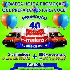 Promoção Makro, Cupons para o Sorteio de Caminhões – Aniversario/2012 - 40 Anos