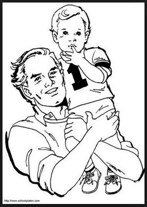 Desenhos para Colorir e Pintar Dias dos Pais. Filho