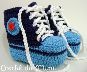 botinha de crochê azul