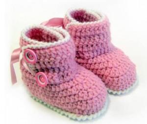 botinha de crochê rosa