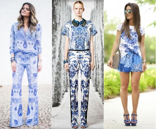 Moda de Estampa Azulejo Nas Roupas - Modelos e Fotos