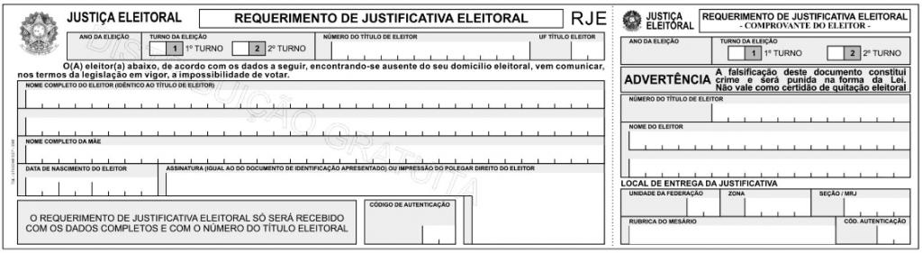 Formulário ou Modelo de Requerimento de Justificativa Eleitoral – Eleições 2014
