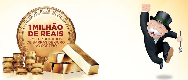 Promoção Milionário McDonald's Monopoly. Certificado em Ouro