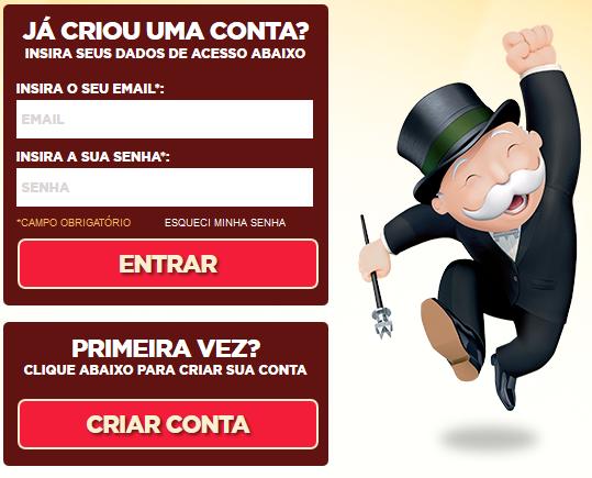 Promoção Milionário McDonald's Monopoly. Criar Conta