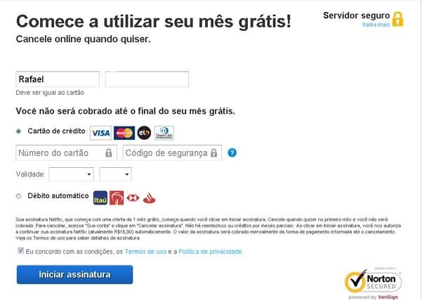 Netflix pagamento