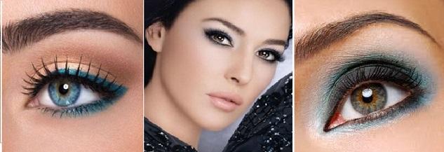 Vestido azul escuro maquiagem