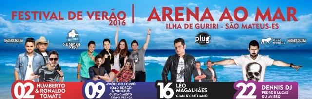 Festival Arena ao Mar Guriri 2016 – Programação e Ingressos