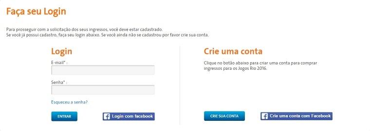 Olimpíadas Rio 2016 login