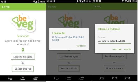 Aplicativo Be Veg Localiza Restaurantes
