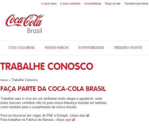 Estágio Coca-Cola 2016 -