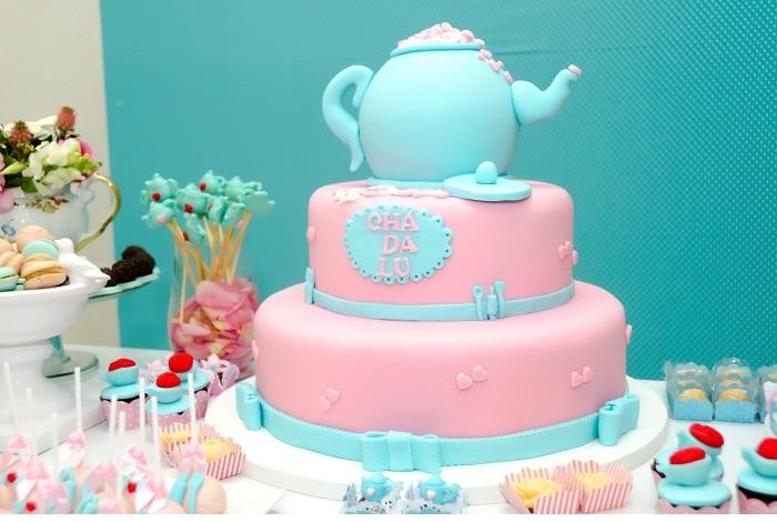 Chá de Panela Azul e Rosa - Como Decorar bolo