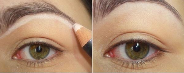 Maquiagem Com Lapis Branco -  sobrancelhas