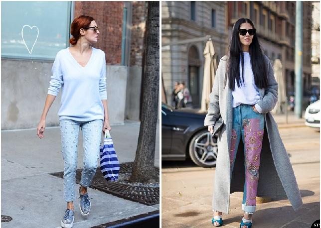 Calças Bordadas Jeans - Modelo