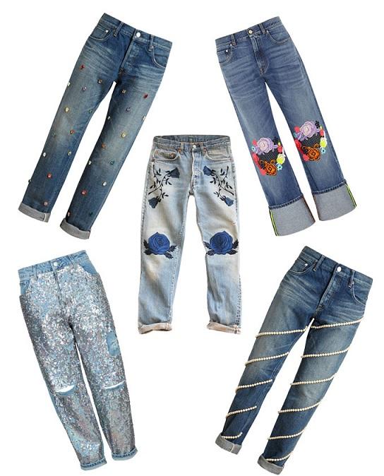 Calças Bordadas Jeans - Modelos