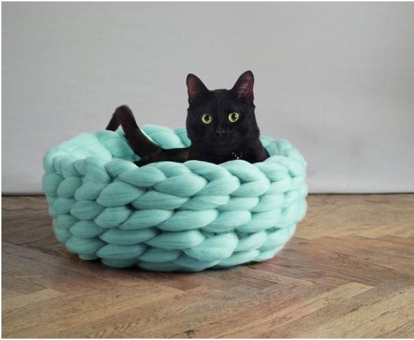 Cama Para Cães e Gatos de Tricô Gigante - Modelo