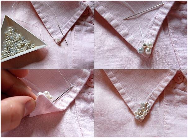 Camisas Golas Com Pérolas gola