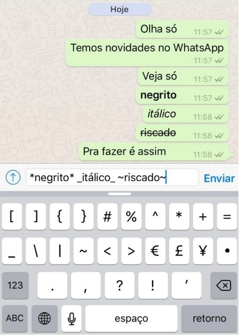 WhatsApp  Negrito, Itálico E Palavras Grifada