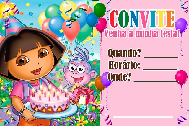Festa Infantil Dora Aventureira - convite