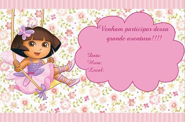 Festa Infantil Dora Aventureira - convites