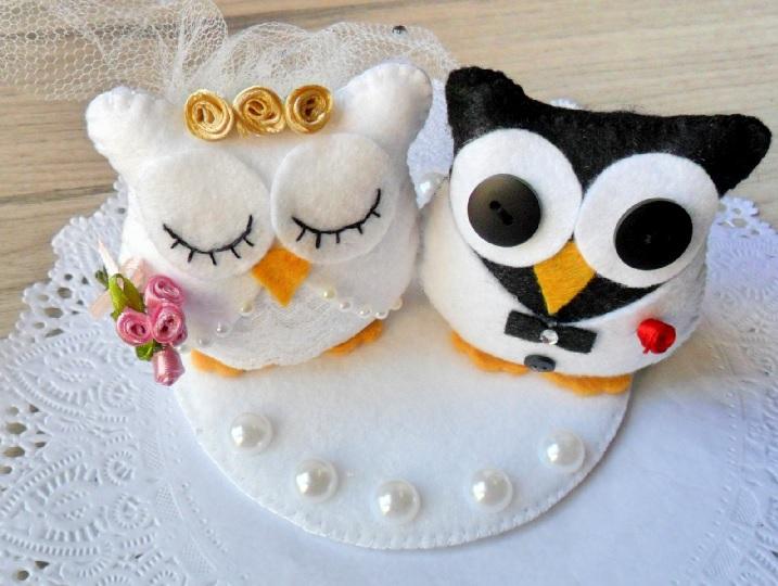 Topos de Bolo Para Casamento - feltro coruja