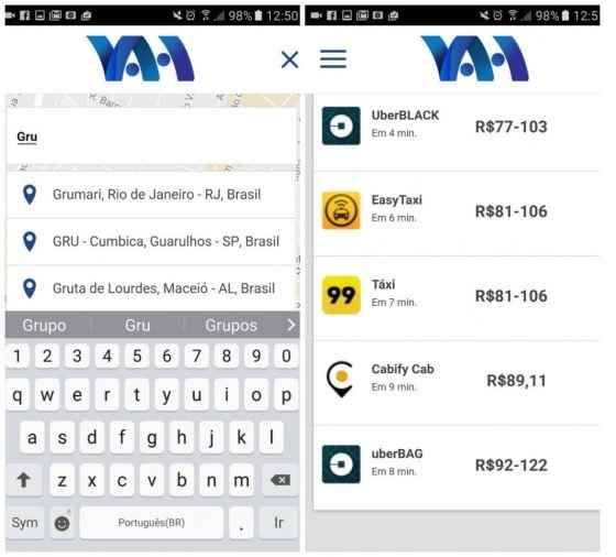 Aplicativo Vah - Compara Preços de Serviços de Mobilidade