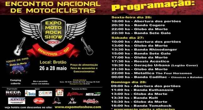 Expo Moto Rock Show Em Brotas SP - Programação