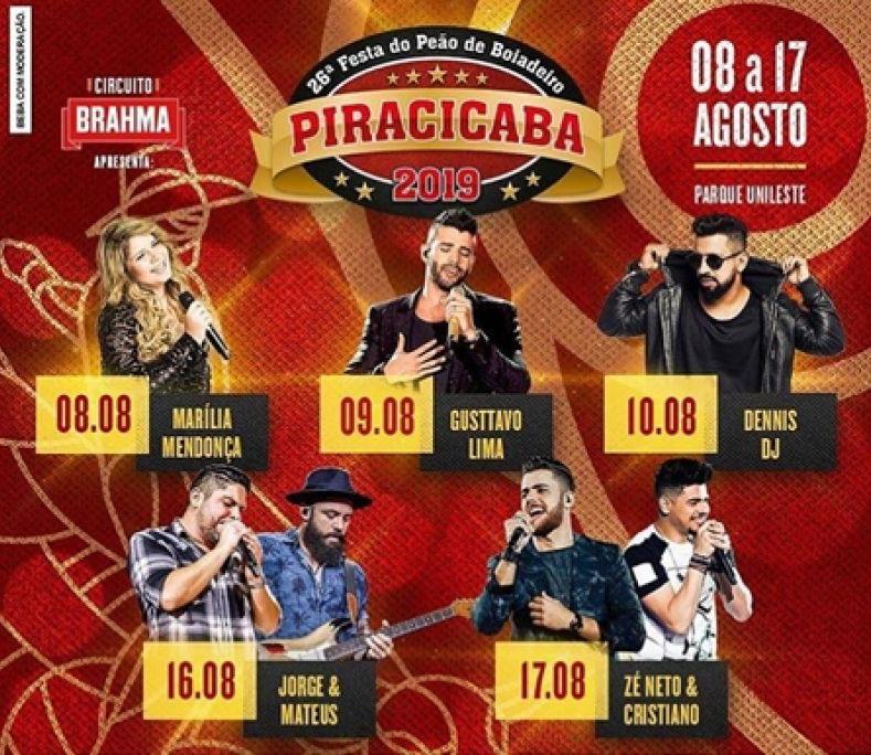 Festa do Peão de Boiadeiro de Piracicaba - Atrações